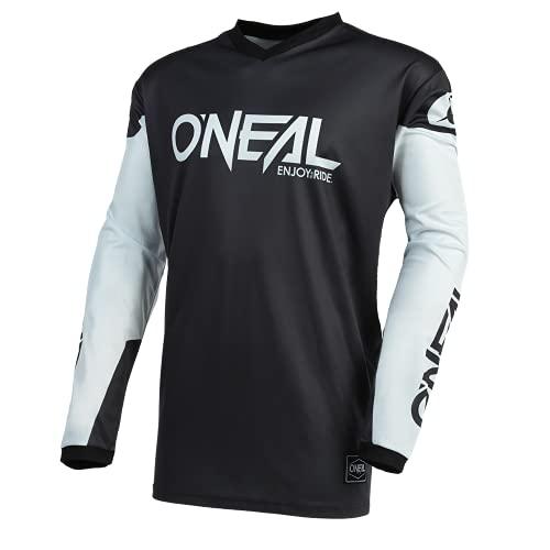 O'NEAL | Motocross-Trikot | Enduro MX | Atmungsaktives Material, gepolsterter Ellenbogenschutz, Passform für maximale Bewegungsfreiheit | Jersey Element Threat | Erwachsene | Schwarz Weiß | Größe L