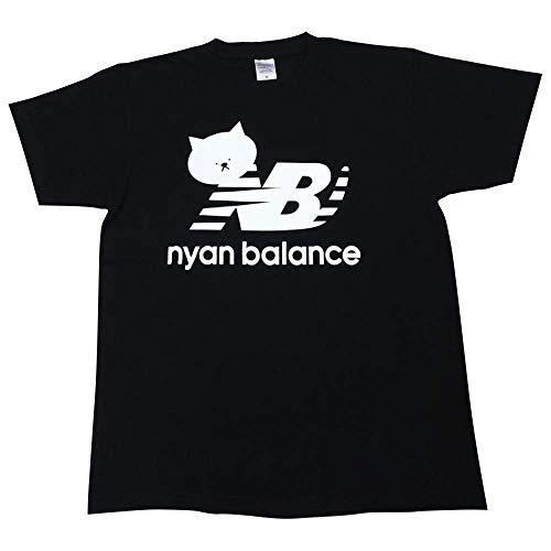 ニャンバランス 半袖 Tシャツ ブランド ネコ パロディー (XLサイズ, 黒)