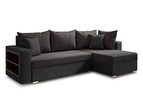 Ecksofa Lord mit Regal und Schlaffunktion - Sofa mit Bettkasten, Schlafsofa, Polsterecke, Couch L-Form, Couchgarnitur, Sofagarnitur (Schwarz + Schwarz (Dolaro 08 + Berlin 02), Ecksofa Rechts)