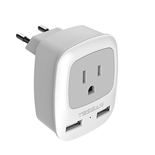 European Travel Plug Adapter, TESSAN International Power Plug with 2 USB, Outlet Adaptor Charger for US to Most of Europe EU Spain Iceland Italy France Germany(Type C)