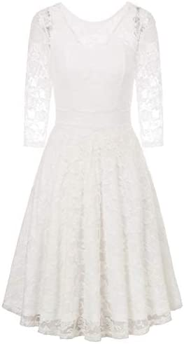 JASAMBAC White Cocktail Dresses Women Juniors Teens Winter Floral Lace Formal Party Wedding product image