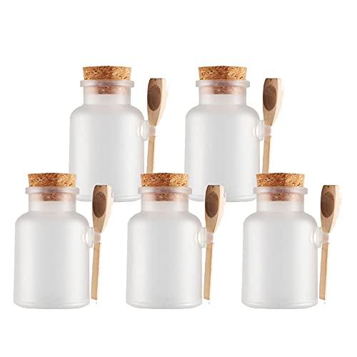 TIANZD 5 Stück 500mlMatt Transparent Kunstoff Badesalz Dose Leere Tiegel Dosen Cremedose Leerdose Kosmetische SalbeBath Salt Behältermit Kork-Verschluss Holzschaufel