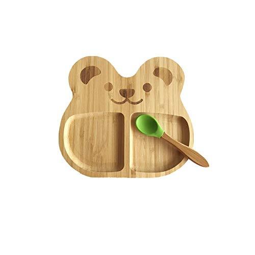 circulor Kinderteller Bambus, Schalenlöffelset, Saugnapfschale Mit Silikon-Saugnapf Babyplatte Für Kleinkinder Und Kinder