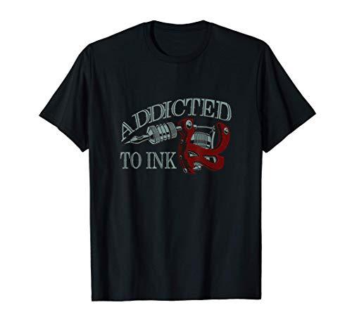 Adicto A La Tinta Artista Regalo Divertido Tatuador Tatuaje Camiseta