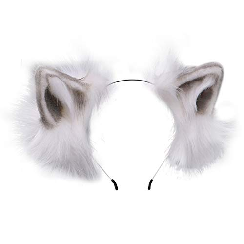 SUCHUANGUANG Furry Bendable Cat Ears Stirnband Flurry Plüschtier Lolita Cosplay Hair Hoop Frauen Bandana Grey
