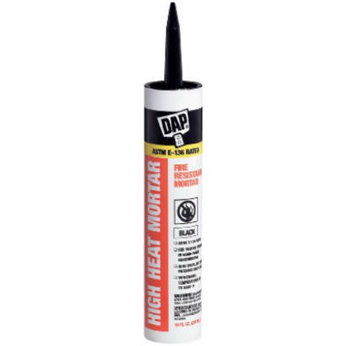 DAP 7079818854 High Heat Mortar Fire Stop Caulk, 10 Fl Oz, Black