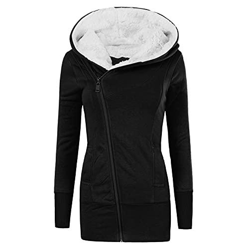 BIBOKAOKE Sudadera para mujer con capucha de felpa, sudadera de invierno cálida con capucha y cremallera para mujer
