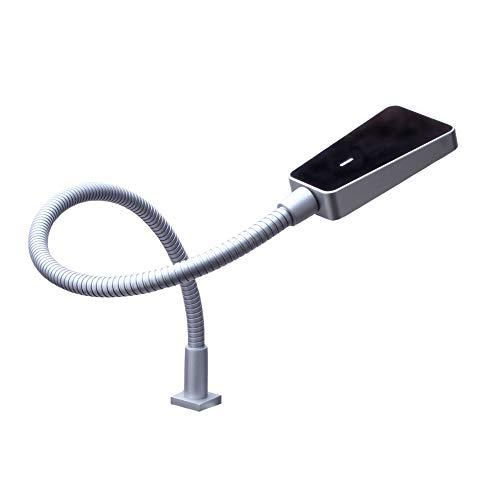 kalb | LED Bettleuchte dimmbar silbergrau Hochglanz schwarz - Leseleuchte Aufbauleuchte Nachttischlampe Bettlampe Leselampe, Größe:1er Set