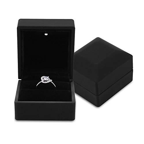 Caja de Regalo de joyería con luz LED, Collar, Pulsera, Anillos, Colgante, Estuche de Almacenamiento para la propuesta de Boda, Compromiso del día de San Valentín, cumpleaños, encantos(Ring)