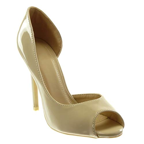 Angkorly - Damen Schuhe Pumpe - Slip-On - Peep-Toe - Dekollete - Lackiert Stiletto high Heel 11 cm - Beige 3 L506-7 T 36