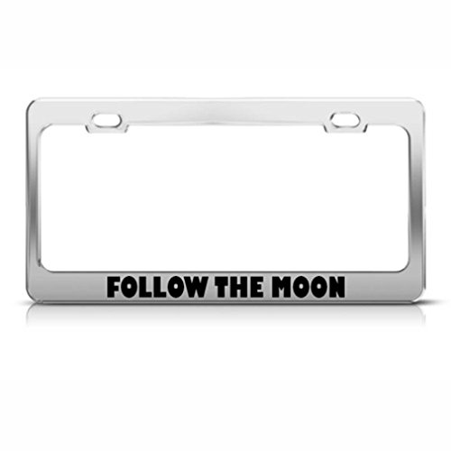suivre la lune Cadre étiquette en métal inoxydable support de plaque d'immatriculation