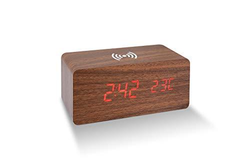 deluxa Wecker Wireless Ladegerät Induktion Charger QI Handy Ladestation kabellos Uhr (Braun)