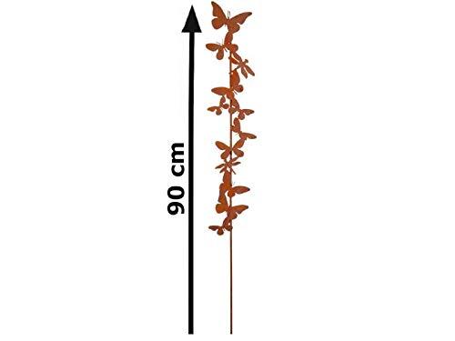 itsisa ® Gartenstecker Schmetterling im Rost Design H: 78 cm, Rostfigur für den Garten, Gartendeko, Metalldeko