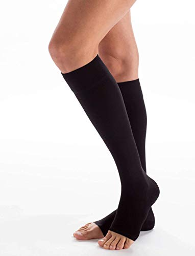 Carolon Health Support - Medias de rodilla (XXL, 20-30 mmHg, punta abierta, 1 par, A