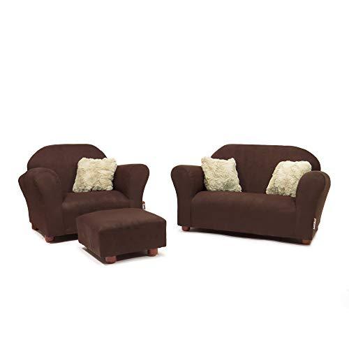 Keet Plush Childrens Set, Sofa, Chair and Ottoman, Brown