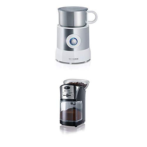 Severin SM 9684 Milchaufschäumer (500 Watt, Induktion, 500 ml, kaltes und warmes Aufschäumen) edelstahl/weiß + Kaffeemühle, schwarz-silber / Scheibenmahlwerk