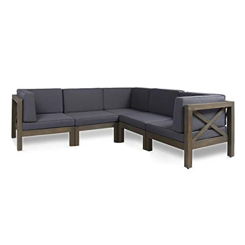 Keith Outdoor Acacia Wood 5 Seater Sectional Sofa Set with Water-Resistant Cushions, Gray and Dark Gray