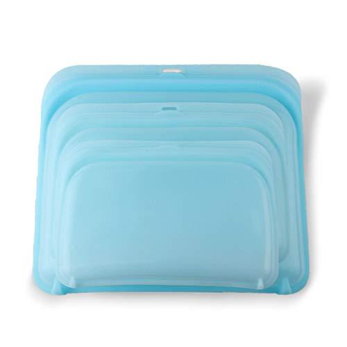 Stasher - Bolsas de silicona para guardar alimentos, aptas para lavavajillas, multipack transparente, para frutas, carne, verduras (azul, 420 ml)