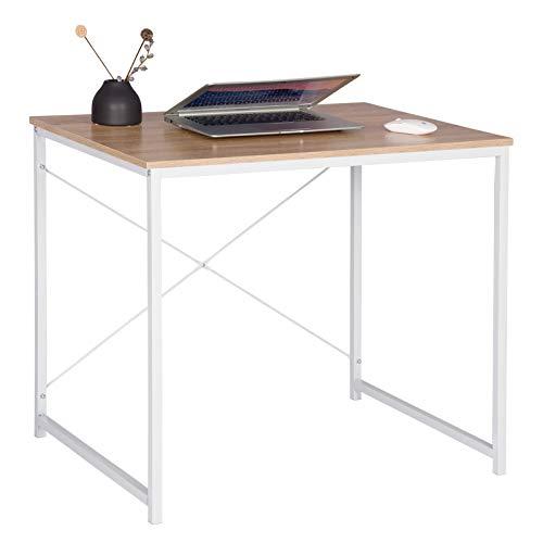 WOLTU TSB03whe Holz mit Eisen-Gestell Computertisch Bürotisch Schreibtisch PC Tisch Arbeitstisch Esstisch Große Desktop Design