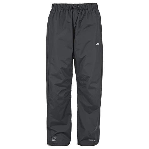Trespass Purnell, Black, XXS, Wasserdichte Regenhose mit Reißverschluss auf voller Beinlänge für Herren, XX-Small / 2XS / 2X-Small, Schwarz