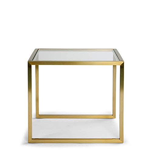 LRZLZY Modern simplicity Iron art glass Creative Sofa side table Corner table Small coffee table Square table living room bedroom Small tea table