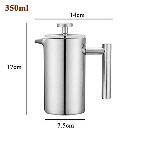 SEESEE.U Mokka-Topf, Edelstahl, doppellagige französische Pressen, Kaffee-Teekanne mit Filterkörben, großes Fassungsvermögen, manueller Kaffeebereiter, 1000 ml 350 ml.