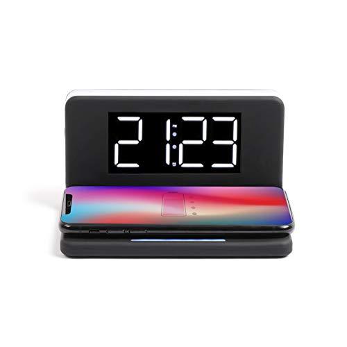 Despertador digital con función de carga por inducción - Cargador inalámbrico Qi - Reloj de mesa digital con cargador inalámbrico - Cargador de inducción con reloj - Carga rápida inalámbrica