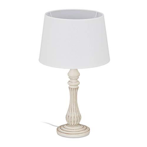 Relaxdays Lámpara de mesa estilo rústico, casquillo E14, tela y madera, para salón y dormitorio, lámpara de noche, 47 x 27 cm, color blanco, 10034461