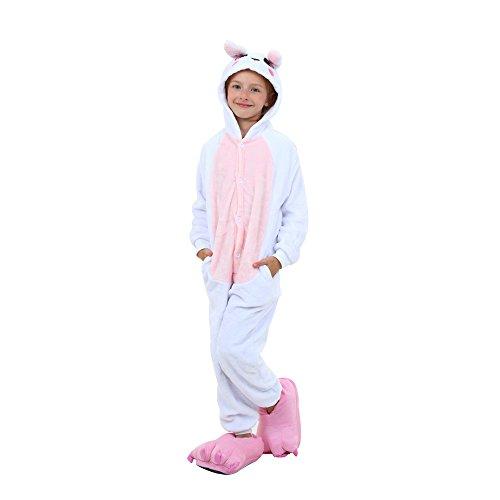 Tickos Unisex Kinder Hase Onesies lustige Tier Pyjamas Pyjamas Halloween Kostüm Overalls (Hase-Rosa, 110CM)