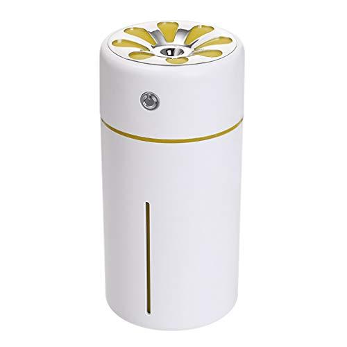 Dingong Humidificateur,360ML USB mini humidificateur lumière de nuit LED humidificateur diffuseur d'air purificateur atomiseur (Jaune)