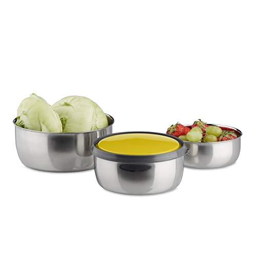Relaxdays Bol mélangeur avec couvercle lot de 3 saladiers en inox plusieurs tailles acier inoxydable, jaune