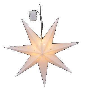 Stern Weihnachtsstern 12 LED ∅ 60cm weiß rot batteriebetrieben innen außen Timer (Weiß)