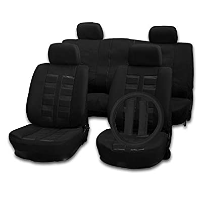 cciyu Seat Cover Universal Car Seat Cushion w/Headrest Cover/Steering Wheel Cover/Belt Pad - 100% Breathable Car Seat Cover Washable Auto Covers Replacement fit for Most Cars(Black)