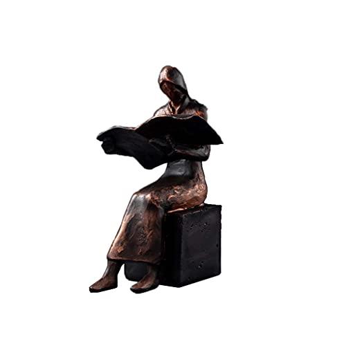 Mankvis Abstrakte Buchleser Statue Skulptur, Harz Figur Kunst Handwerk Modell Büro Wohnzimmer Dekoration Ornamente Bibliothek Buchstütze Werkzeuge H20CM