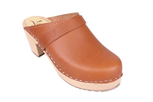 Swedish Clogs : High Heel Clogs in Tan Leather UK 2.5 EUR 35