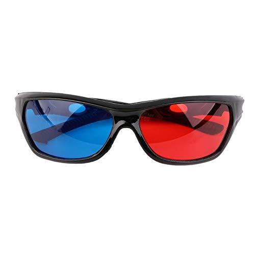 Universelle 3D-Brille mit schwarzem Rahmen, rot und blau, 3D-Visoin-Glas für dimensionale Anaglyphen, Filme, Spiele, DVDs, Videos, TV