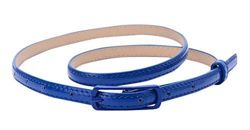 Selighting Cinturones para Mujeres Cuero de la PU Ajustable, Correa Cinturón Estrecho Verano Cintura de Color Sólido para Jeans Vestidos Fashion Skinny Minimalismo (Azul)