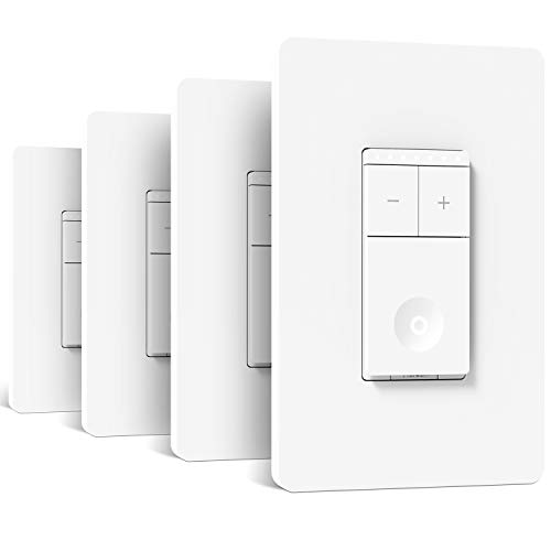 Treatlife Smart Dimmer Switch, Neutral Wire Needed, 2.4Ghz Wi-Fi Light Switch, Compatible with Alexa and Google Assistant, Schedule, Remote Control, UL & FCC Listed, Single Pole (4 Pack)