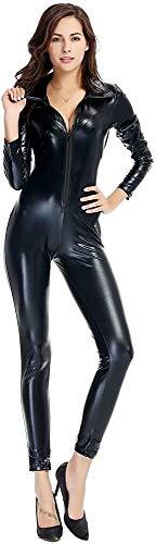 RLYJZ Erotische Dessous Erotische Kleidung Einteilige Lederhose Mit Reißverschluss Aus Leder Nachtclub-Pole-Dance-Kleidung,1X-Black