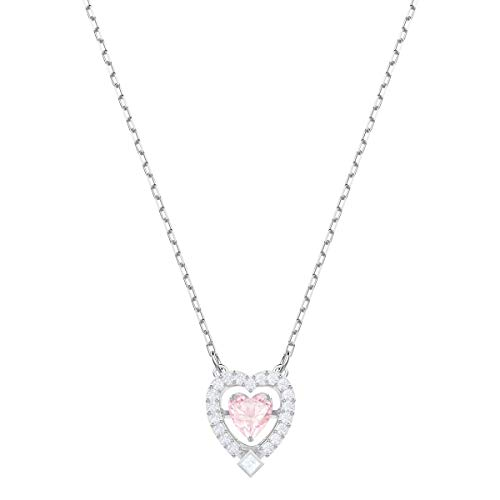 Swarovski Sparkling Dance Heart Halskette, rosa, rhodiniert