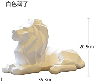 Others - Modern Abstract Geometric Resin Lion Figurines Animal Statue Mountain Lion Sculpture Indoor Statues Home Decorations Crafts - by MINIATURE.1-1 Pcs - Asian Lion Statue