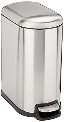 Amazon Basics Rectangle Soft-Close Trash Can for Narrow Spaces - 10L