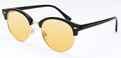 まぶしさ 眼精疲労軽減 白内障手術後 予防 医療用フィルターレンズ使用 パソコンメガネ サプリサングラス ORIGINAL SUNGLASSES-7855(男女兼用) (ブラック(c1), イエローブラウン)