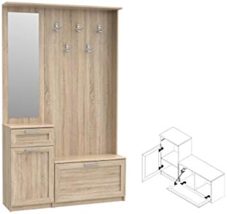 Furniture24_eu Garderoben Set Niko (NIKD04) Diele Flur Schuschrank Spiegel Dielenmbel (Sonoma Eiche)