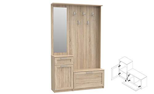 Garderobe NIKO NIKD04 Flurgarderobe, Flur, Dielengarderobe mit 1 Tür, 1 Klapptür, Spiegel, Schublade und 5 Kleiderhaken (Sonoma Eiche)