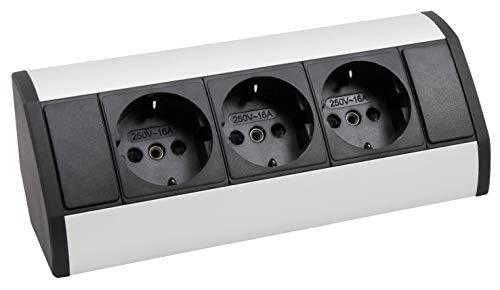 MC POWER - Steckdosenblock Unterbausteckdosen | SB-13 | 3-fach Schutzkontaktsteckdosen, 230V~ / 16A, Aufbau, Aluminium und Kunststoff