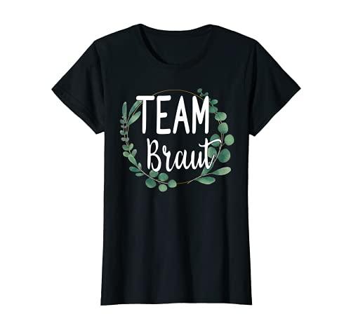 Damen Team Braut Bride Blumen Grün Vintage JGA Verlobung Geschenk T-Shirt