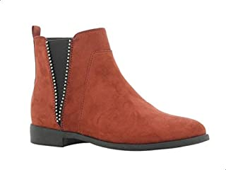 Sprox Faux Suede Side Zip Elastic Metal Studded Detail Ankle Boots with Pull Tab for Women - Ginger, 40