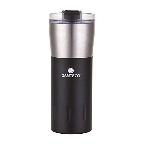 SANTECO Kariba Auslaufsicherer Thermal Tumbler,Flip Deckel Vakuumisolierte Reise Kaffeetasse,500ml,Carbon Black