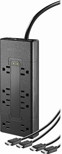 8-Outlet Surge Protector with Two 8' 4K UltraHD/HDR HDMI Cables - Black